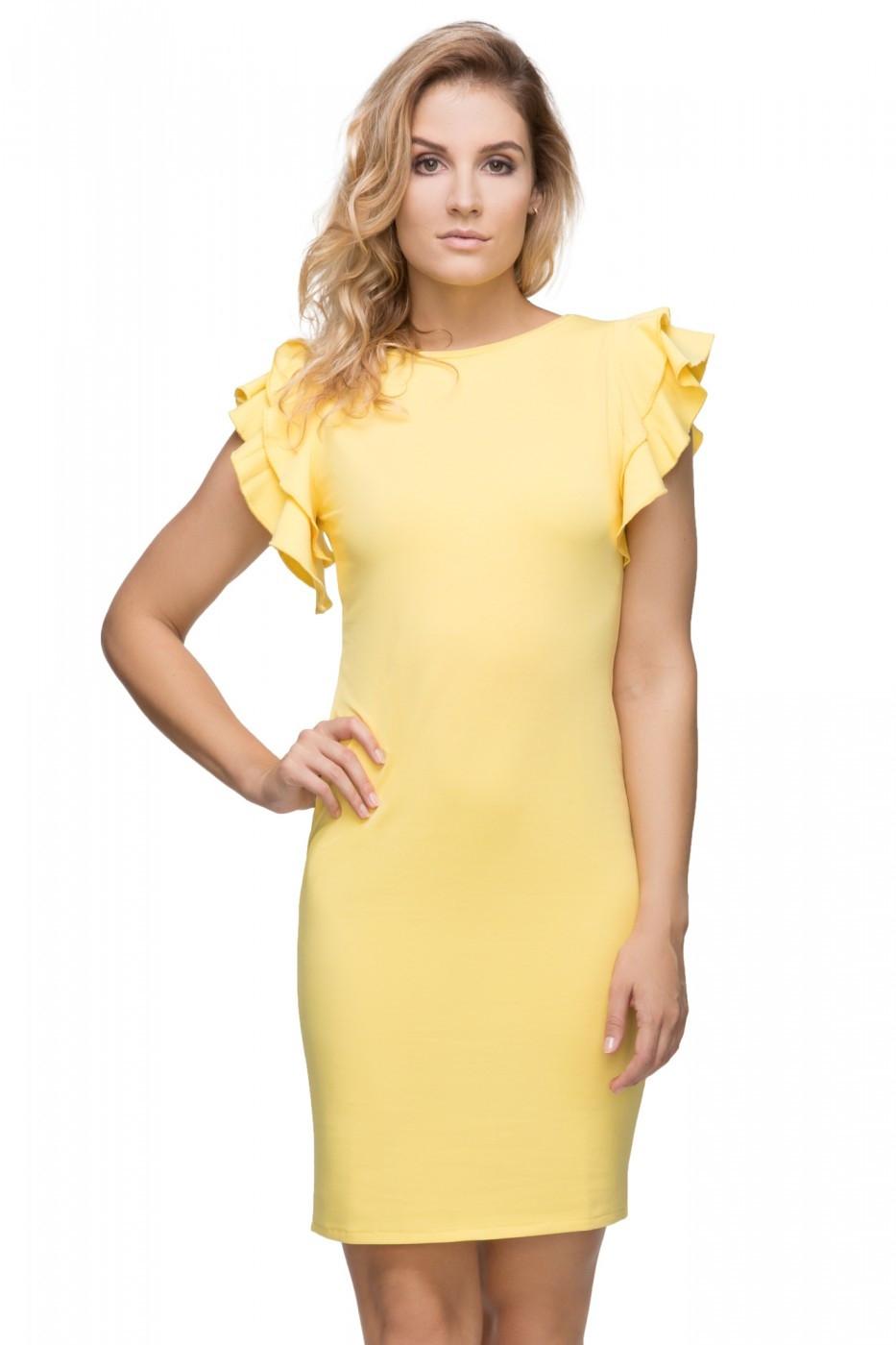 Elegantné šaty s volánmi na rukávoch T165 - žlté - Florentis.sk 1366bde0f21