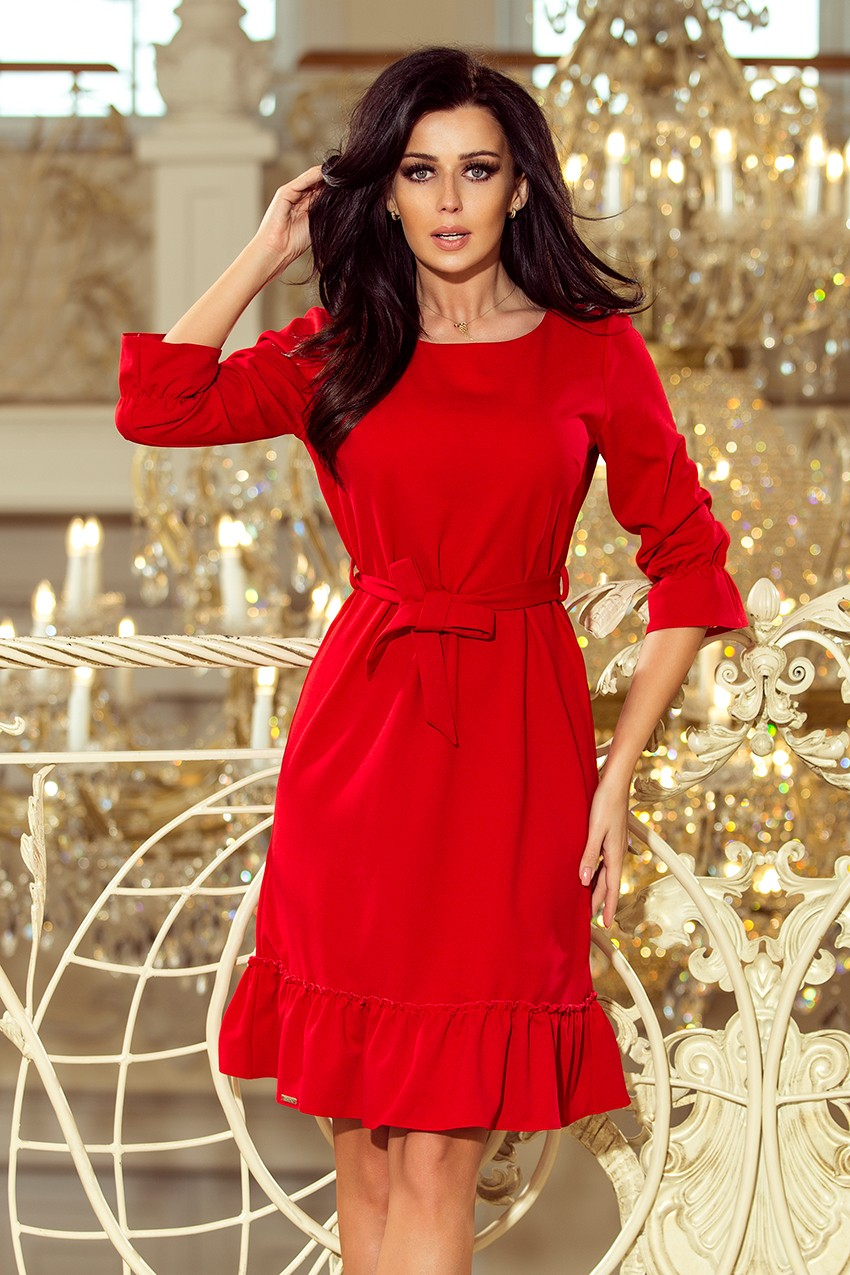 7b65b1ba793e Romantické šaty s volánom 193-6 MAYA - červené - Florentis.sk